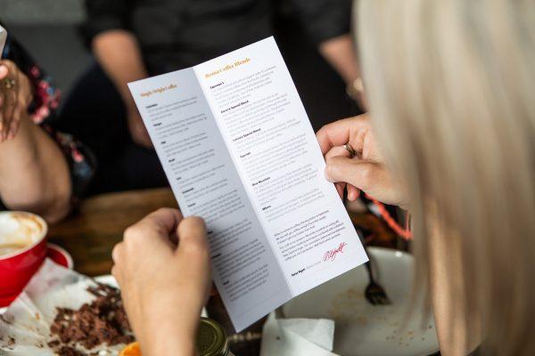 Blends on a coffee shop menu